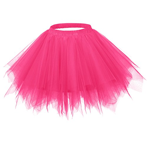 Ellames Women's Vintage 1950s Tutu Petticoat Ballet Bubble Dance Skirt Fuchsia S/M -