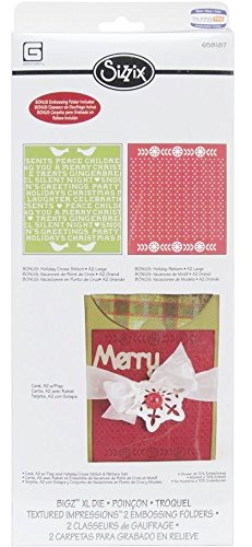 A2 Card Embossing Folder (Sizzix Bigz XL with Bonus Textured Impressions Embossing Folders - Card, A2 with Flap and Holiday Cross Stitch & Pattern Set)
