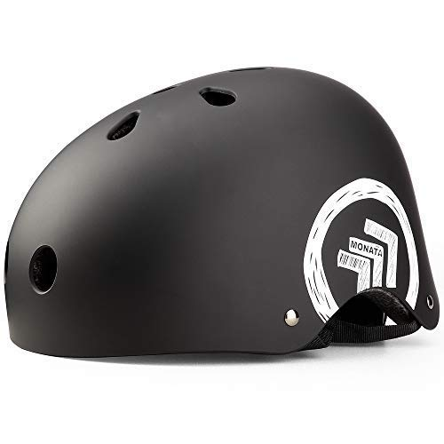 MONATA Skateboard Helmet-CPSC Certified for Youth & Adults Multi-Sport Cycling,Roller Skating,Skateboarding,Scooter,Longboard,Rollerblading,Biking (Matte Black, M)
