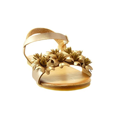 Angkorly - Scarpe da Moda sandali donna fiori tanga Tacco a blocco 1.5 CM - Champagne