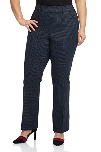 Rekucci Curvy Woman Ease in to Comfort Fit Barely Bootcut Plus Size Pant (14W,Navy/White Dotted Lines)