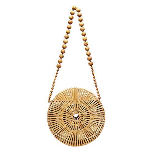 ROPALIA Women's New Wooden Beads Woven Bag Handmade Beaded Bamboo Shoulder Bag Creative New Gift Round Bamboo Bag