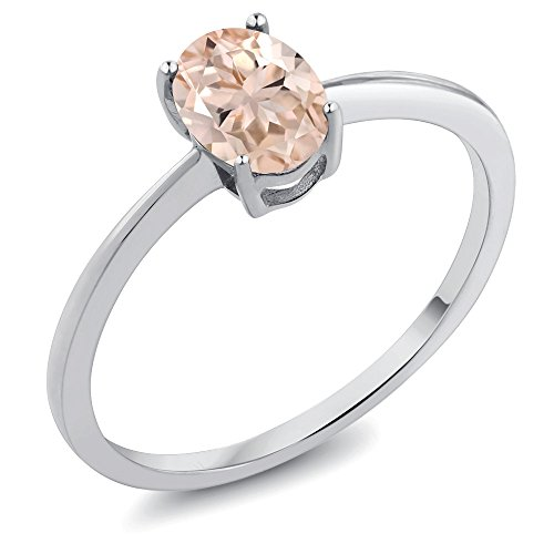 - Gem Stone King 0.65 Ct Oval Peach Morganite 10K White Gold Solitaire Ring (Size 5)