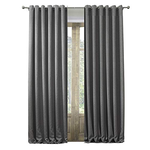 (Artdix Blackout Lined Curtains Panels Window Drapes - Grey 50W x 102L Inches (2 Panels) Grommet Top Insulated Thermal Solid Faux Linen Fabric Curtains for Bedroom, Living Room, Kids Room, Kitchen)