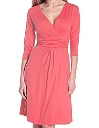 Glamour Empire Women's 3/4 Sleeve V-Neck Circle Jersey Dress 282