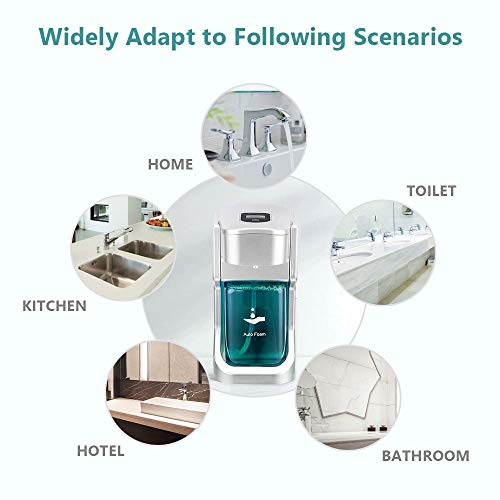 meidong Touchless Soap Dispenser 500mL/17oz Automatic Foam Dispenser with USB Charging & Infrared Motion Sensor for Kitchen Bathroom and Home Use