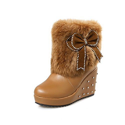 Solid Brown Boots High Heels Pull Women's Closed Materials Allhqfashion on Blend Round Toe 7651xq
