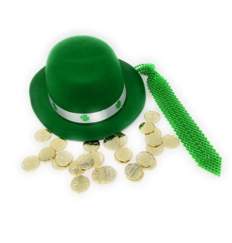 St. Patrick's Day Irshi Set: Green Derby Hat with Green Sequined Tie and GOLD (Patricks Day Derby Hat)