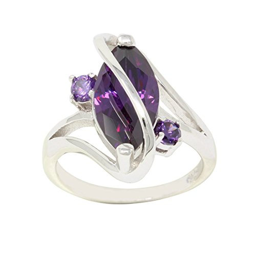 3 Stone Swirl Fashion Ring Marquise Simulated Purple Amethyst 925 Sterling Silver Size - Ring Stone Swirl