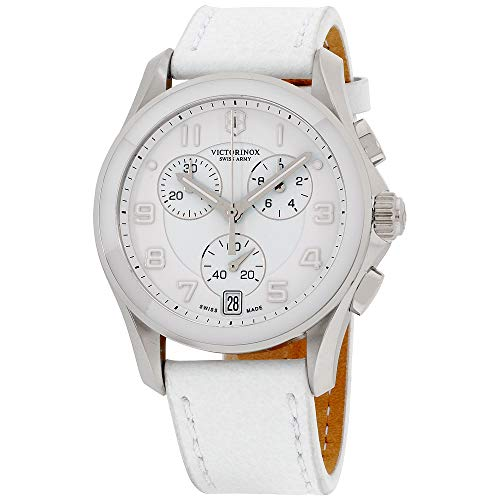 (Victorinox Swiss Army 241500 Chrono Classic Watch with White Dial and White Leather Strap)