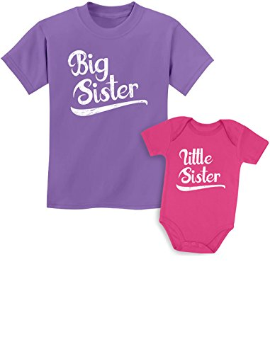 Little Sister Baby T-shirt - Sibling Shirts Set for Big Sisters and Little Sisters Girls Gift Set Girls Shirt Lavender/Baby Wow Pink Kids Shirt 3T/Baby 6M