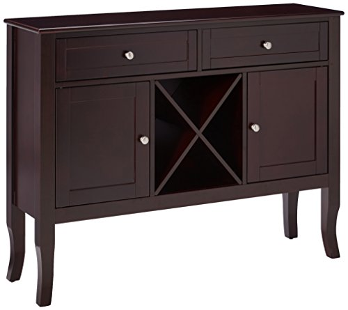 Kings Brand Dark Cherry Finish Wood Wine Cabinet Breakfront Buffet Storage Console Table