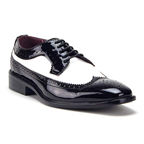 Jazame Men's Patent Formal Wing Tip Lace Up Oxford Dress Shoes, Black/White, 8.5