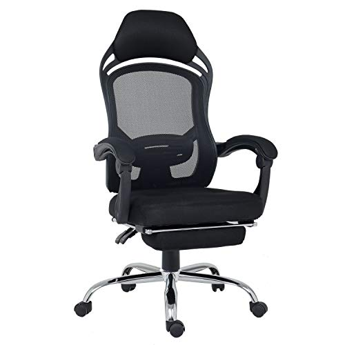 High Back Mesh Office Chair Breathable Ergonomic PC Computer Adjustable Swivel Reclining Home Desk Recliner Chair with Footrest and Headrest Black