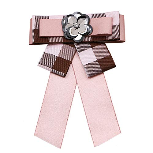 JETEHO Satin Ribbon Bowknot Brooch Pin Bow Brooch pre-Tied Neck Tie Rhinestone Brooch Pin Collar Jewelry Crystal Brooches Pin Clip for Women (Pink) ()