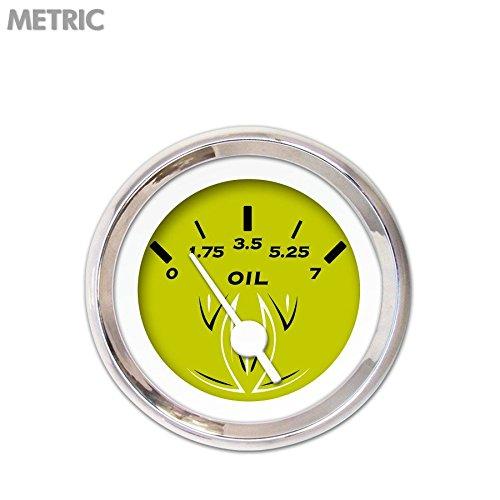Aurora Instruments 6625 Pinstripe Green Metric Oil Pressure Gauge White Vintage Needles, Chrome Trim Rings, Style Kit DIY Install