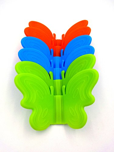 Taousa 70345 Silicone Pot Holder, Oven Mini Mitt, Cooking Pinch Grips, Kitchen Heat Resitant Solution, Butterfly Shape, Set of 6 (3 pairs) (Butterfly Mitt)