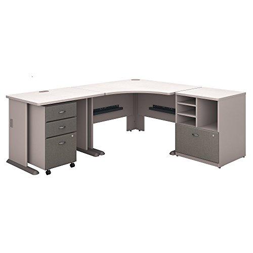 (Bush Business Furniture Series A 48W Corner Desk with 36W Return and Storage - Pewter/White Spectrum 83W X 71D X 30H ERGONOMICHOME BUSH BUSINESS FURNITURE Scroll Down for Product Description)