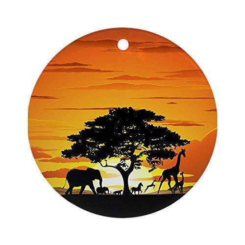 nimals On African Savannah Sunset Ornament (Round Ceramic Christmas Ornaments Doublesided Keepsake Christmas Tree Decorations ()