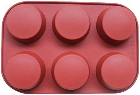 BAKER DEPOT 6 Cavity Round Silicone Mold For Muffin Cupcake, Bread, Handmade Soap Set of 2