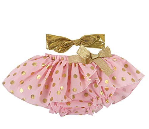 Stephan Baby Birthday Girl Gold Shimmer Dot Diaper Cover Tutu and Lame Headband Set