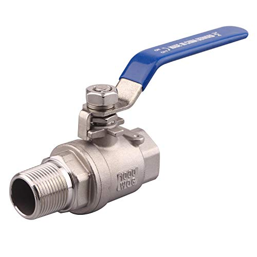 DERNORD Full Port Ball Valve 3/4 Inch - Male x Female Stainless Steel 304 Heavy Duty for Water, Oil, and Gas,1000WOG (3/4 Inch NPT)