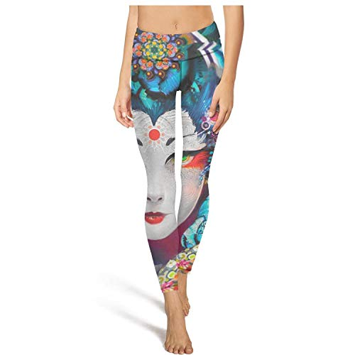 Cuban Womens Cap Sleeve T-shirt - DFGHFGFQ Pretty Women Yoga Pants Colorful Art Japanese Female Wallpaper Comfortable Elastic Workout Pants Sports Bra Padded