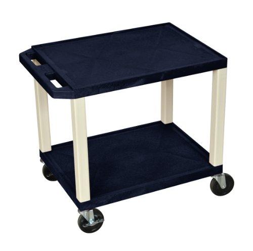 H.Wilson WT26Z Tuffy AV Cart Navy 2 Shelves Putty Legs by H Wilson