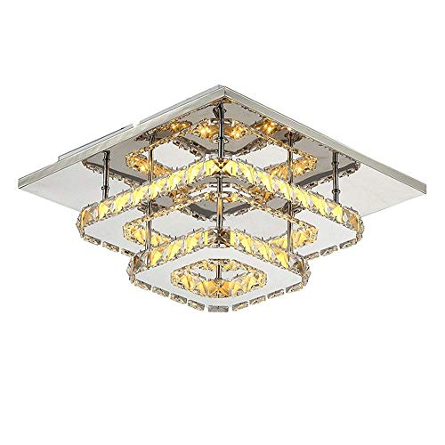 (BAIJING K9 Crystal Ceiling Lamp,24+8W Led Warm Light Double Layer Square Embedded Indoor Lighting Living Room Bedroom Study Entrance Villa Fixture 220/240W A++ (Color : Warm Light))