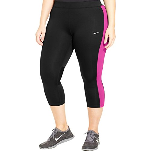Nike Womens Plus Color Block Cropped Yoga Legging Black 2X