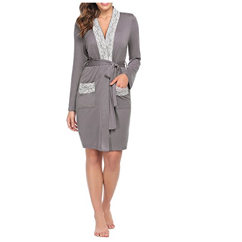 Ekouaer Womens Long Kimono Robe Loungewear (Grey, Small)