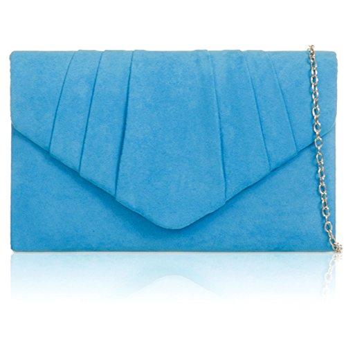 Xardi London - Bolso de piel para mujer, piel de ante sintética, tipo sobre azul celeste