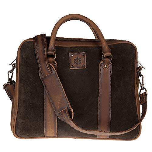(STS Ranchwear Unisex Heritage Satchel Briefcase Chocolate Suede/Tornado Brown One Size)