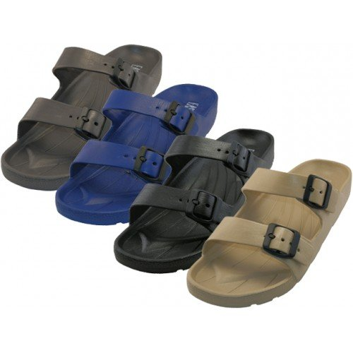Easy USA Mens Double Buckle Sandals - Black (9) 0NwzD
