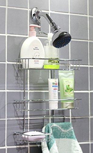 Deluxe Chrome-plated Steel 3 Tier Hanging Shower Caddy Bathroom Storage Rack Shelf