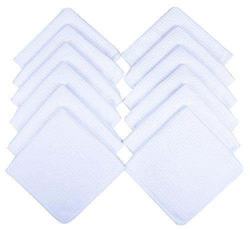 Microfiber Dish Cloths Kitchen Cleaning Cloth Washcloth 13Inchx13Inch White 12 Pack ()