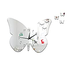 Emubody Acrylic Butterfly Mirror Wall Clock Wall Sticker Mural Artist Home Decoration