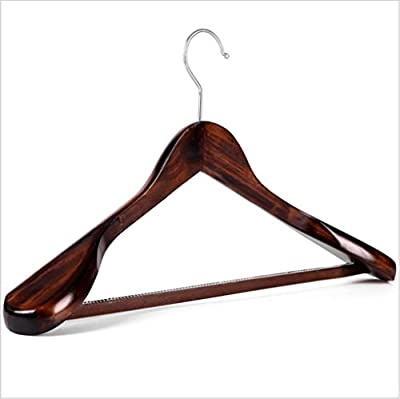 GFYWZ Adult Hangers Solid wood Retro Wide shoulder Rod with toothed wood men and women Sturdy Durable Non slip Design Clothes Coat Hangers (pack of 10)