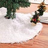 Christmas Furry Tree Skirt Pure White Long Christmas Tree Skirt Christmas Tree Decorative Tree Skirt Artificial Tree Skirt (78CM-Diameter)