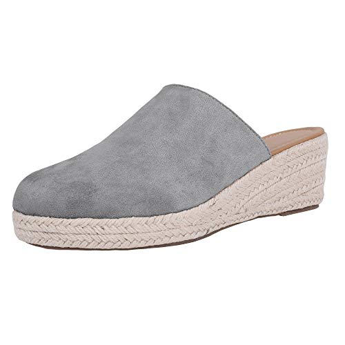 Nailyhome Womens Mules Espadrille Wedge Platform Slides Close Toe Slip On Low Heel Backless Summer Shoes (4 Inch Heel Mule)