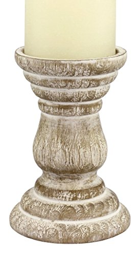 Stonebriar Antique White Wooden Pillar Candle Holder, Vintage Seaside Pillar Stand for Dining Table Centerpiece, Coffee Table, Mantel, Or Any Table Top, Medium