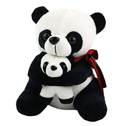 Houwsbaby Cuddly Stuffed Animal Panda Bear Mother and Son Soft Plush Toy, 8inch