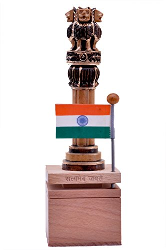 Denika Handicrafts Wooden Indian Handicrafts Wooden Antique Ashoka Pillar ()