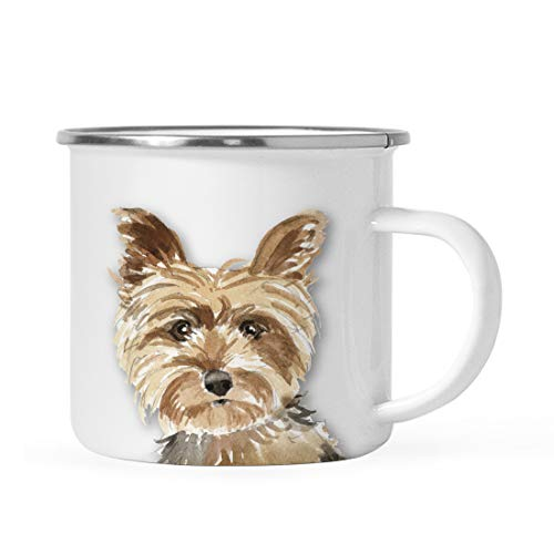 (Andaz Press 11oz. Stainless Steel Dog Campfire Coffee Mug Gift, Yorkshire Terrier Up Close, 1-Pack, Pet Animal Camp Camping Enamel Cup Modern Birthday Gift Ideas for Him Her Family)