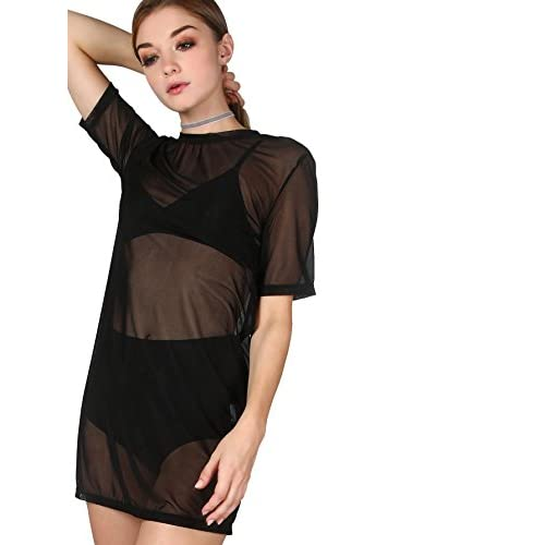 Makemechic Womens Short Sleeve See Through Sheer Mesh T Shirt Dress