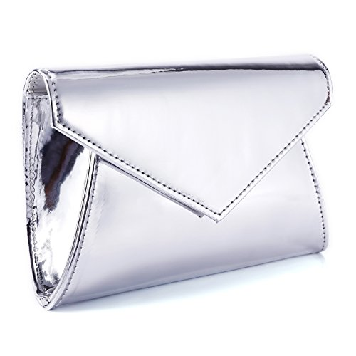 - Surepromise Shimmery Metallic PU Leather Sparkling Flap Prom Clutch Purse Women Shoulder Bag