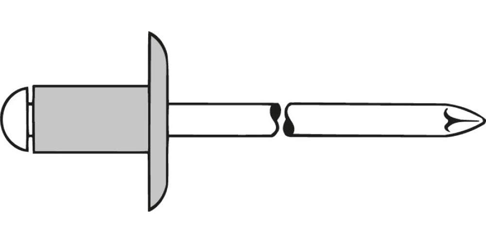 Gesipa 0/2975/000/5,0/8/ /01 Blindniete Alu/Stahl Groß kopf, K 14, 5 x 8, 250 Stü ck, Grau 0/2975/000/   5 0/    8/     /01