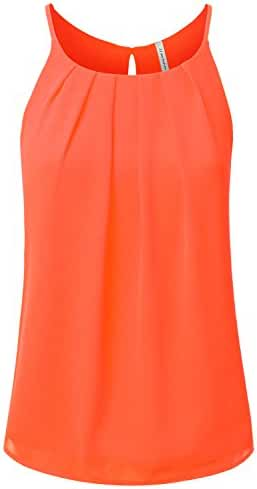 JJ Perfection Women's Round Neck Front Pleated Chiffon Cami Tank Top