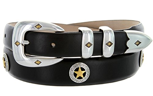 Presidential Gold Star Italian Genuine Leather Western Golf Belt (Smooth Black, 44) (Italian Star)