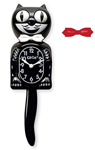 Kit-Cat Klock Classic Black Clock with White and Red Bow Ties (Black Cat Clock With Moving Eyes And Tail)
